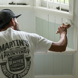 VJ's to interior of Ashgrove timber home being painted by Martins Professional Painting