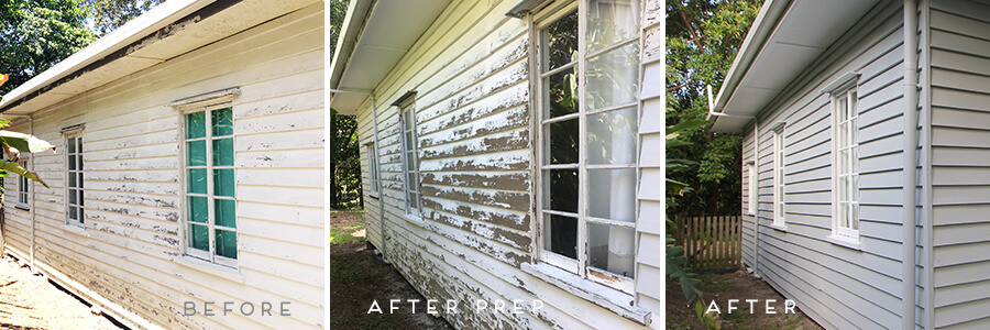 Removal of flaking exterior paint weatherboard house