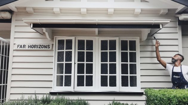 Fresh painting to the weatherboards, windows and gable at St Lucia, Brisbane