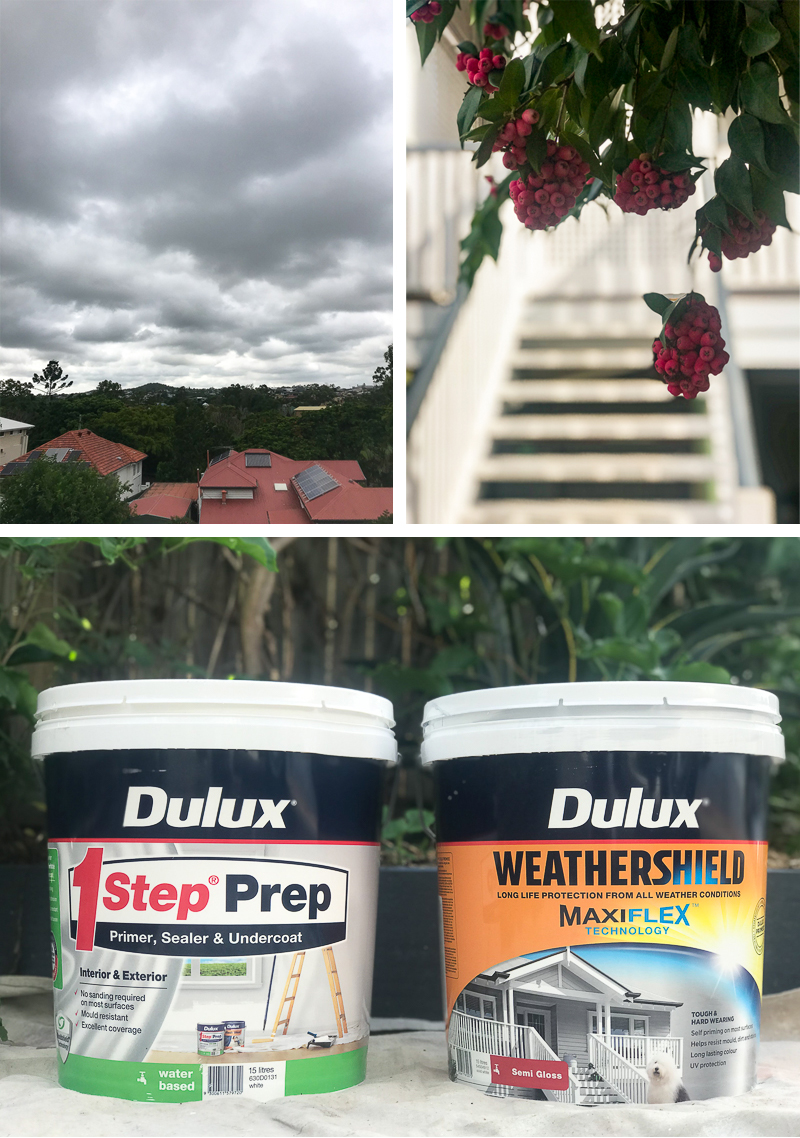 Brisbane humidity. Lily pilly. Dulux one step primer and weathershield maxiflex used to paint exterior boards.