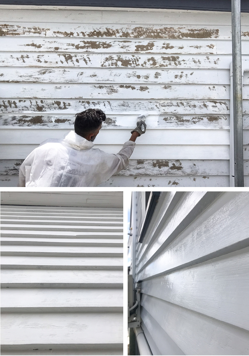 Painter undercoating weatherboards at cooparoo rental property. Painted weatherboards.